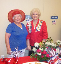 Shadwell REgent Sue Tatum and Mrs. Betty Green from Florida at July 4, 2012 Monticello breakfast for new citizens